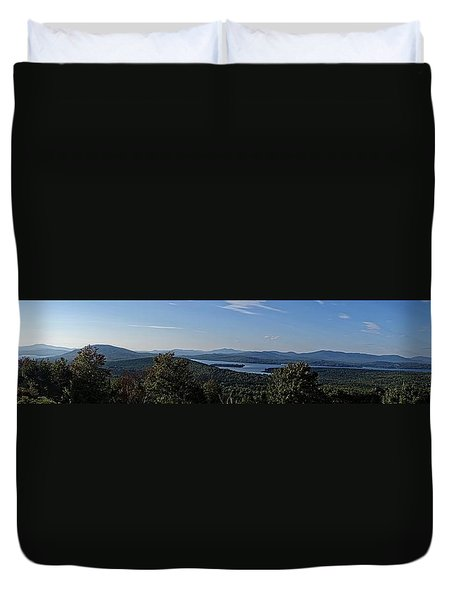 Rangeley Lake Sunset Panoramic Duvet Cover