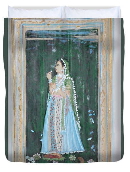 Duvet Cover featuring the painting Rani Waiting For Her Raja by Vikram Singh