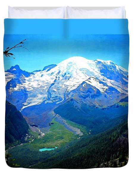 Ranier And Little Tahoma Duvet Cover by Timothy Bulone