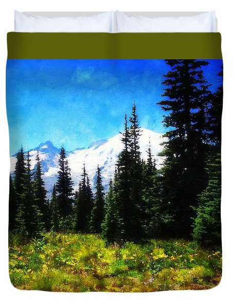 Ranier Mountain Meadow Duvet Cover by Timothy Bulone