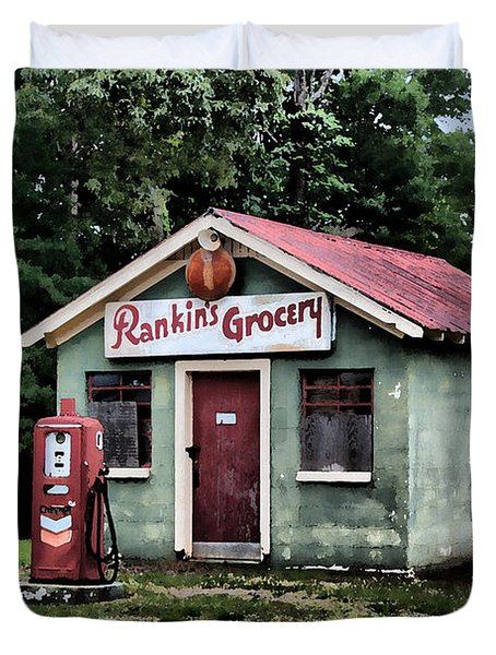 Rankins Grocery In Watercolor Duvet Cover by Lynne Jenkins