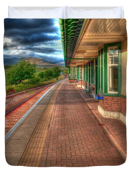 Rannoch Station Platform Duvet Cover by Chris Thaxter