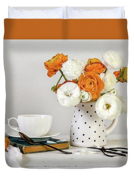 Duvet Cover featuring the photograph Ranunculus Bouquet by Kim Hojnacki