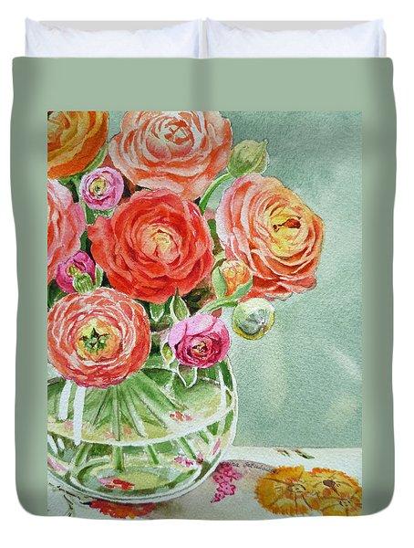 Ranunculus In The Glass Vase Duvet Cover by Irina Sztukowski