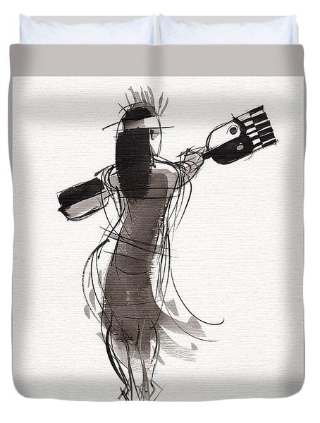 Duvet Cover featuring the painting Rapa Nui Dancer by Judith Kunzle