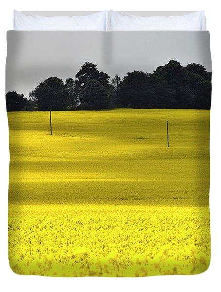 Rape Field In East Germany Duvet Cover by Heiko Koehrer-Wagner