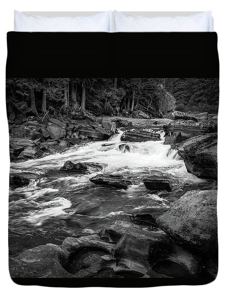 Rapids Through The Forest Bw Duvet Cover