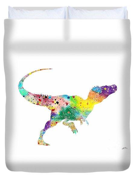 Raptor 2 Dinosaur Watercolor Duvet Cover