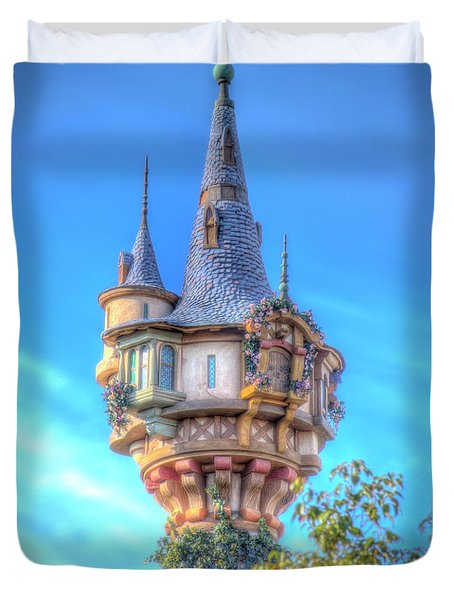 Duvet Cover featuring the photograph Rapunzel Castle Tower by Mark Andrew Thomas