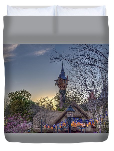 Rapunzel's Tower At Sunset Duvet Cover