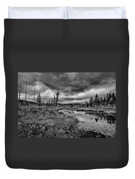 Duvet Cover featuring the photograph Raquette Lake Bog by David Patterson