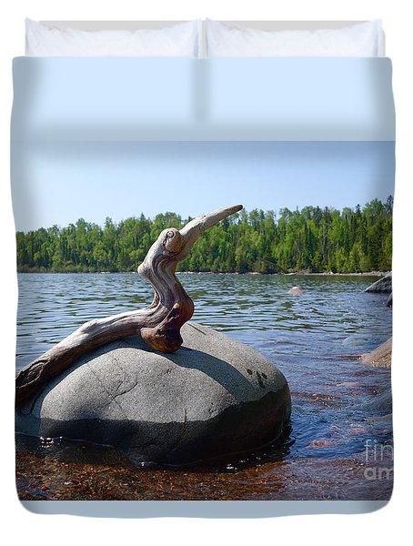 Duvet Cover featuring the photograph Rare Superior Driftbird by Sandra Updyke