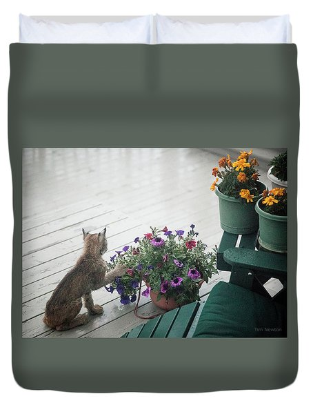 Swat The Petunias Duvet Cover
