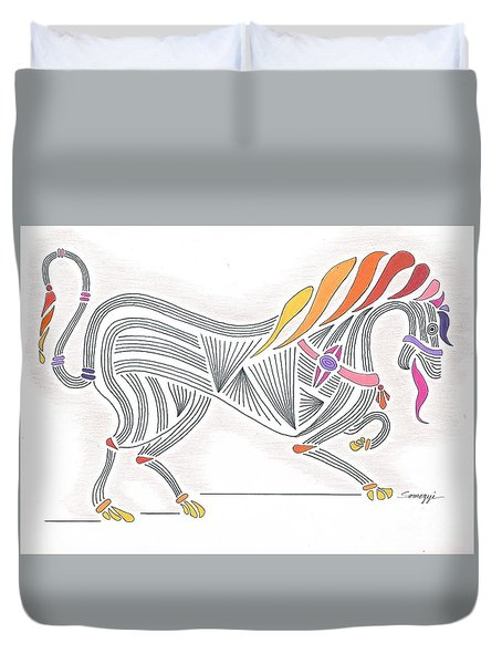 Rarin' To Go -- Stylized Medieval Prancing Horse W/ Rainbow Mane Duvet Cover