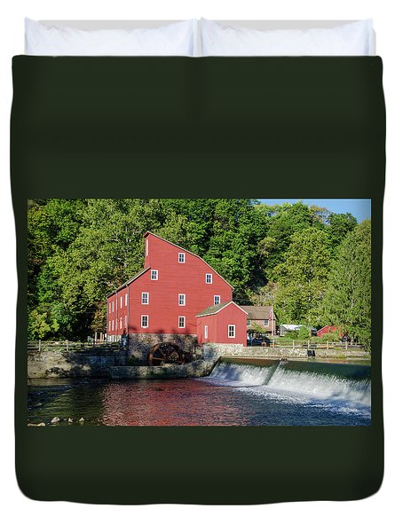 Rariton River And The Red Mill - Clinton New Jersey Duvet Cover by Bill Cannon