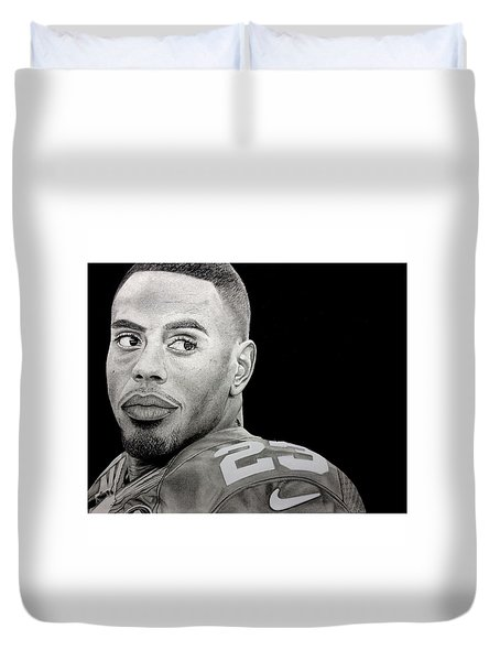 Rashad Jennings Drawing Duvet Cover by Angelee Borrero