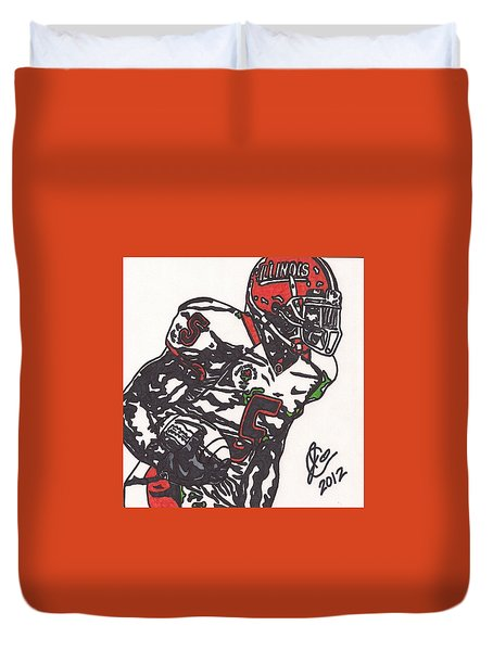 Duvet Cover featuring the drawing Rashard Mendenhall 1 by Jeremiah Colley