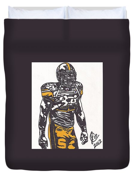 Duvet Cover featuring the drawing Rashard Mendenhall 2 by Jeremiah Colley