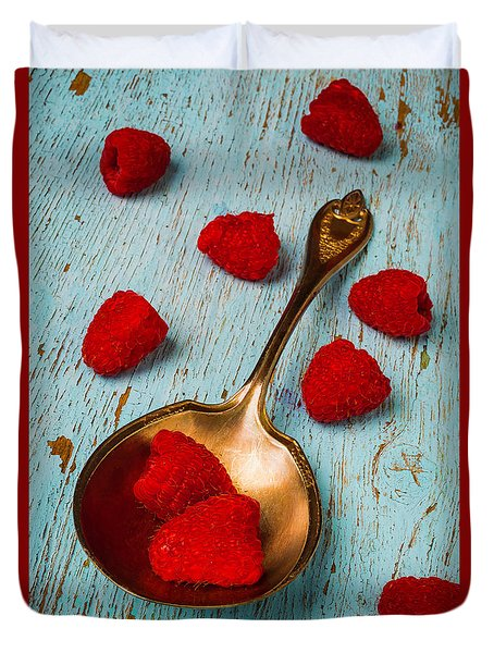Raspberries With Antique Spoon Duvet Cover