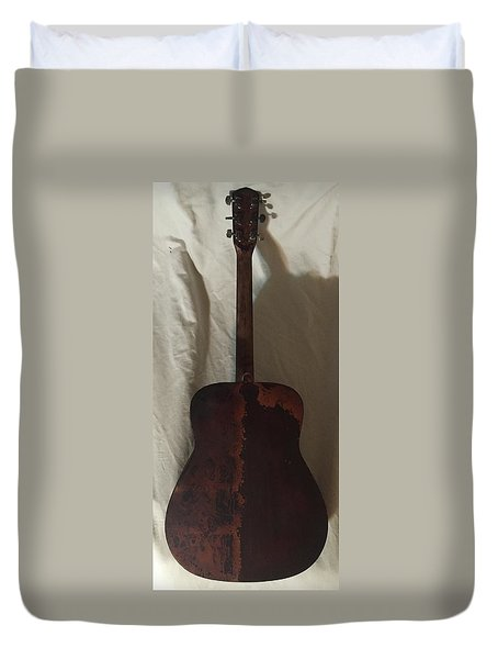 Duvet Cover featuring the mixed media Rat Guitar 2 Back by Steve  Hester