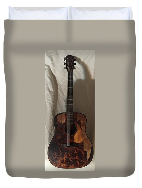 Duvet Cover featuring the mixed media Rat Guitar 2 Front by Steve  Hester