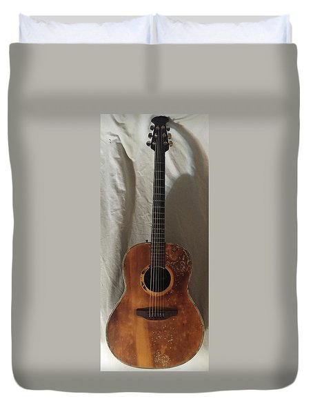 Duvet Cover featuring the mixed media Rat Guitar by Steve  Hester