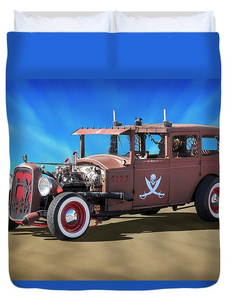 Duvet Cover featuring the photograph Rat Rod On Beach 3 by Mike McGlothlen