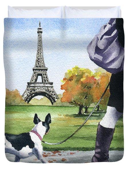 Rat Terrier In Paris Duvet Cover
