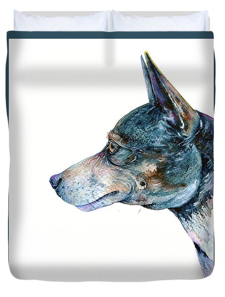 Duvet Cover featuring the painting Rat Terrier by Zaira Dzhaubaeva