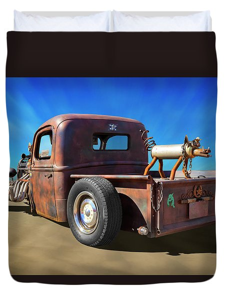 Duvet Cover featuring the photograph Rat Truck On Beach 2 by Mike McGlothlen