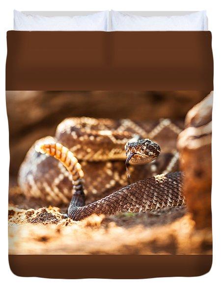 Rattlesnake On Ground Duvet Cover