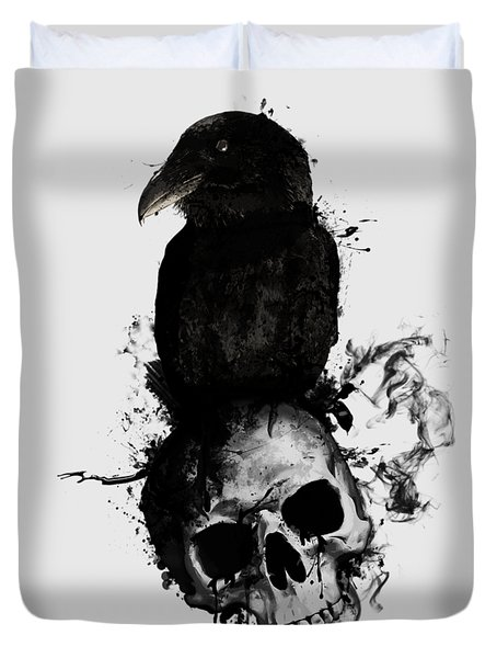 Duvet Cover featuring the mixed media Raven And Skull by Nicklas Gustafsson
