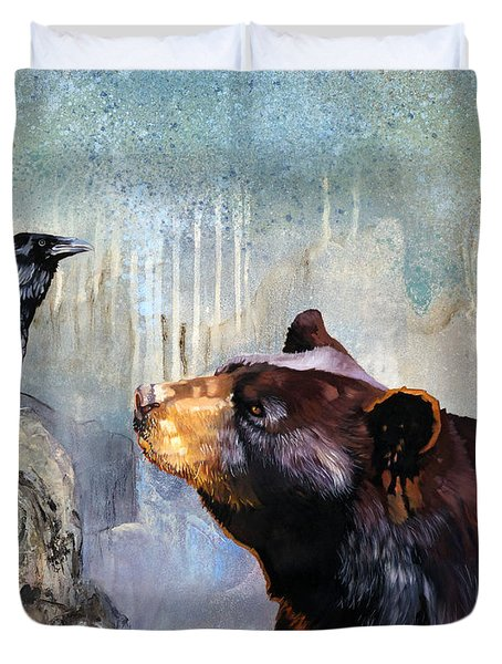 Raven And The Bear Duvet Cover