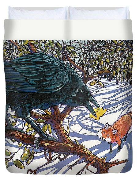 Raven And The Fox Duvet Cover