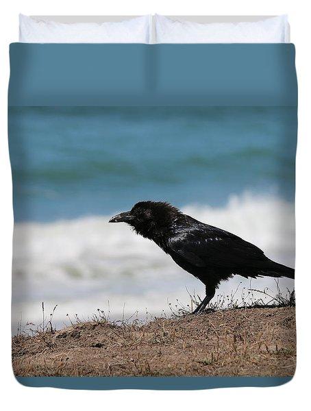 Raven At The Ocean Duvet Cover