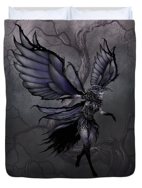 Duvet Cover featuring the digital art Raven Fairy by Stanley Morrison