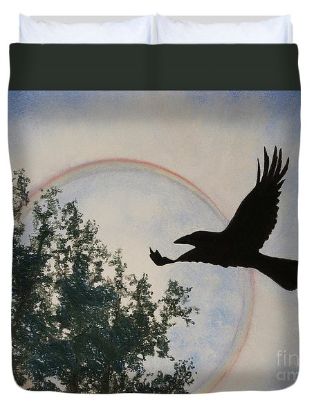 Raven Holds The Sun Duvet Cover by Stanza Widen