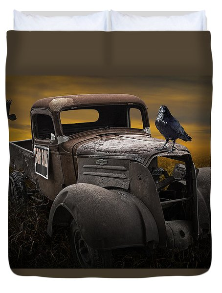 Raven Hood Ornament On Old Vintage Chevy Pickup Truck Duvet Cover