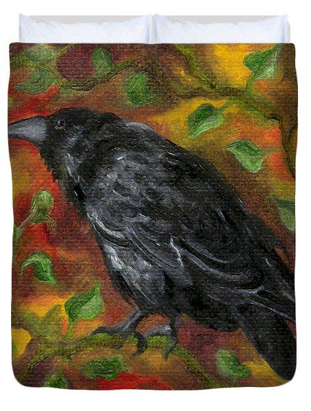 Raven In Autumn Duvet Cover