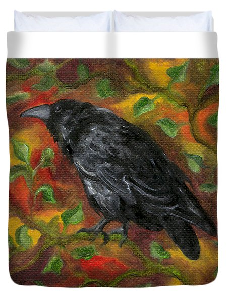 Raven In Autumn Duvet Cover