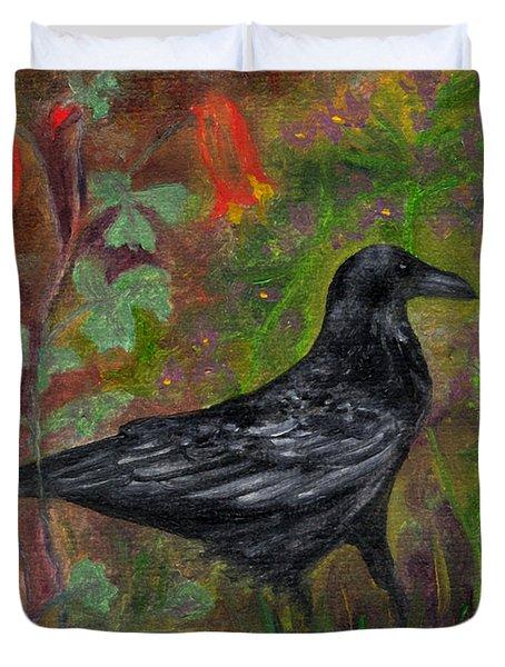 Raven In Columbine Duvet Cover
