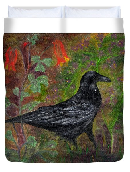 Raven In Columbine Duvet Cover