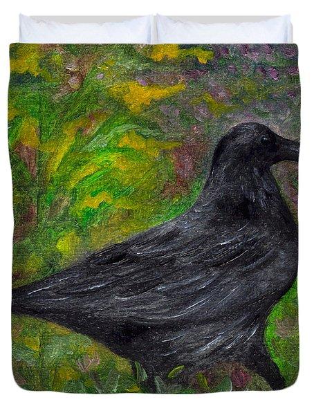 Raven In Goldenrod Duvet Cover