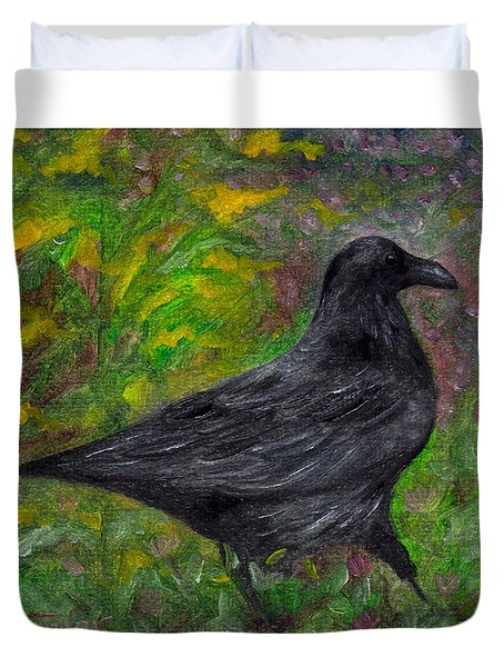 Raven In Goldenrod Duvet Cover