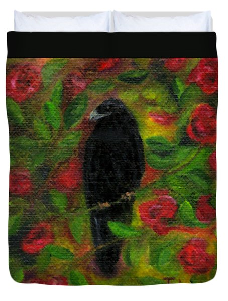 Raven In Roses Duvet Cover