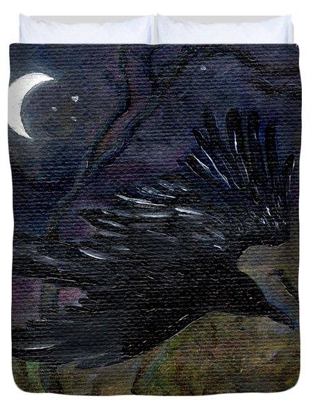 Raven In Stars Duvet Cover