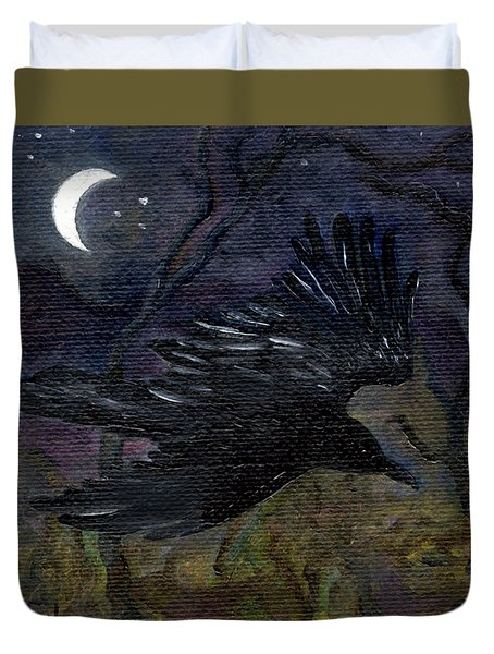 Raven In Stars Duvet Cover