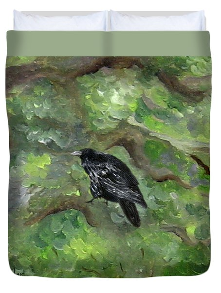 Raven In The Om Tree Duvet Cover
