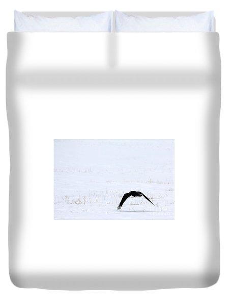 Raven In The Snow Duvet Cover