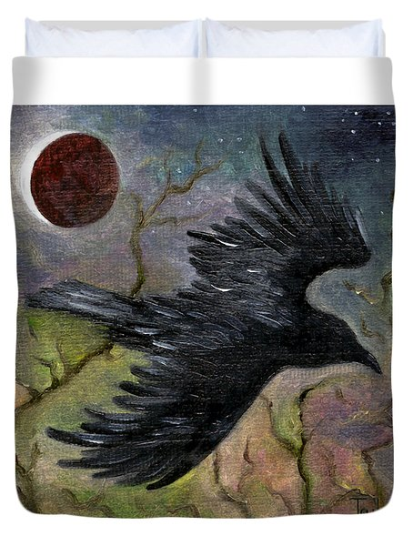 Raven In Twilight Duvet Cover